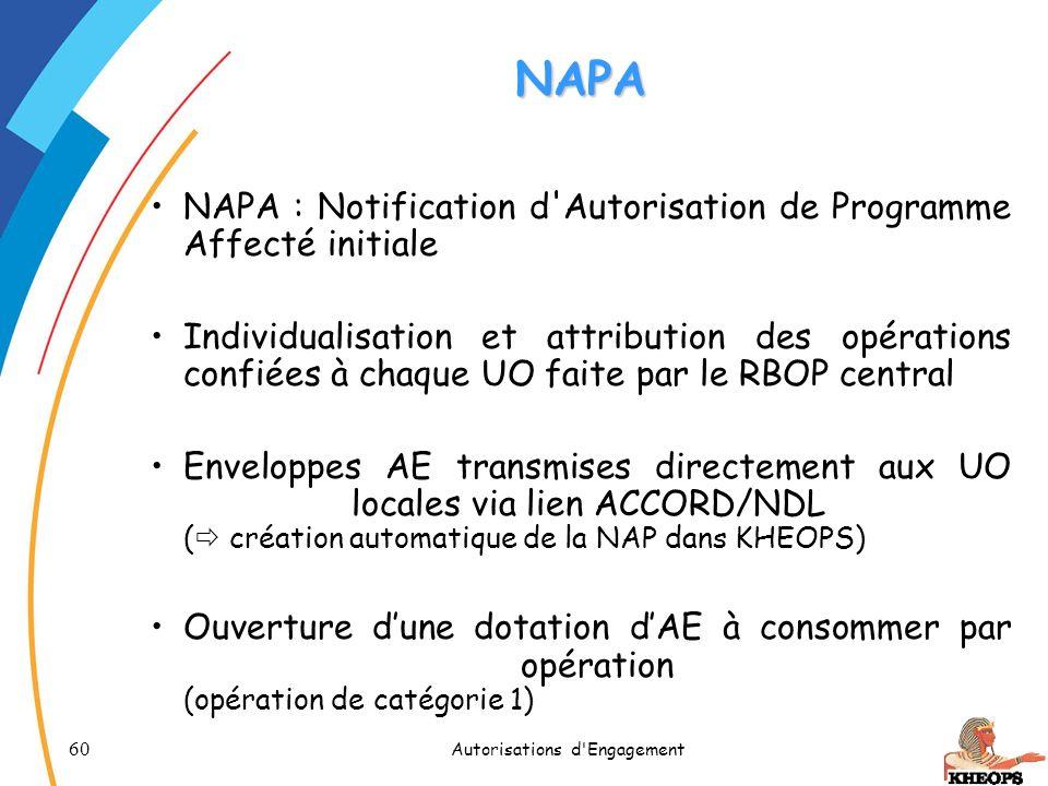 60 Autorisations d'Engagement NAPA NAPA : Notification d'Autorisation de Programme Affecté initiale Individualisation et attribution des opérations co