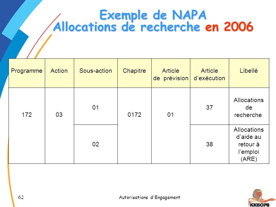 62 Autorisations d'Engagement Exemple de NAPA Allocations de recherche en 2006 Programme Action Sous-action Chapitre Article de prévision Article dexé