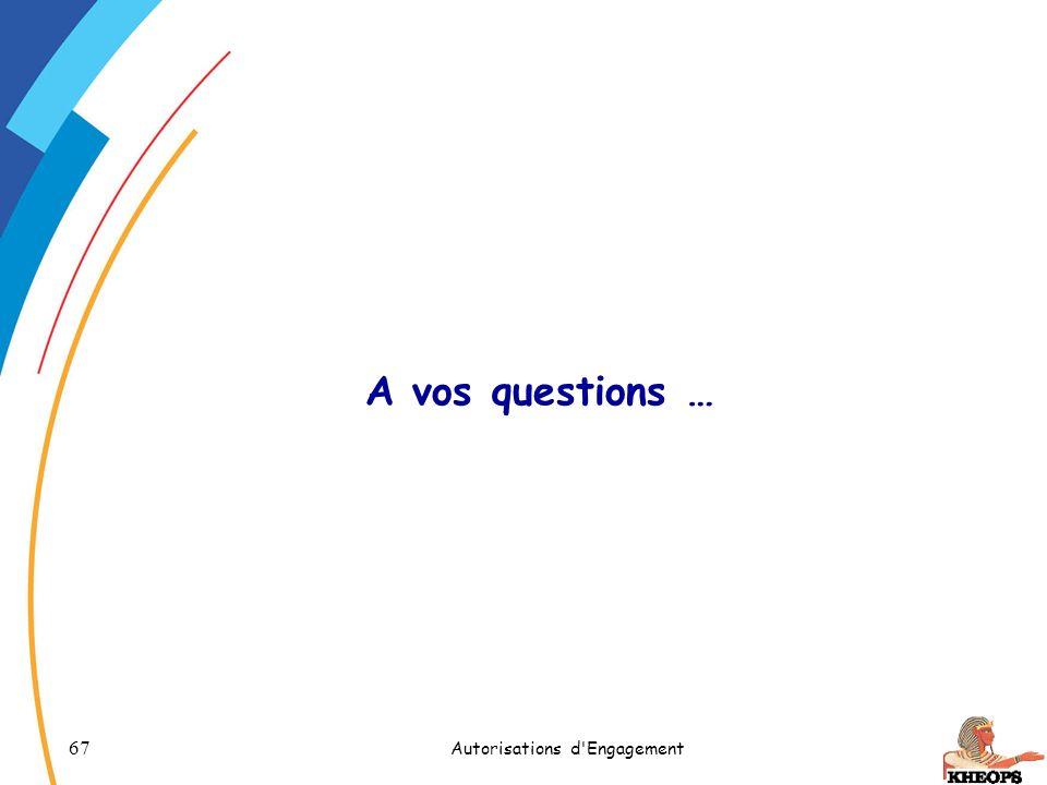 67 Autorisations d'Engagement A vos questions …
