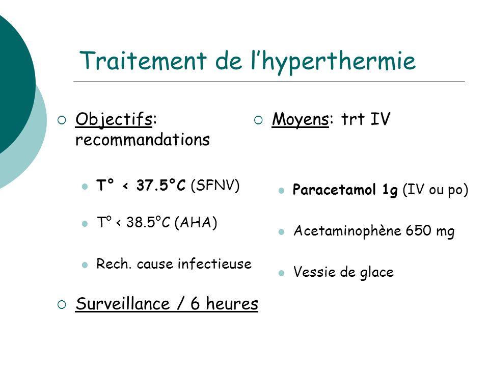 Traitement de lhyperthermie Objectifs: recommandations T° < 37.5°C (SFNV) T° < 38.5°C (AHA) Rech.