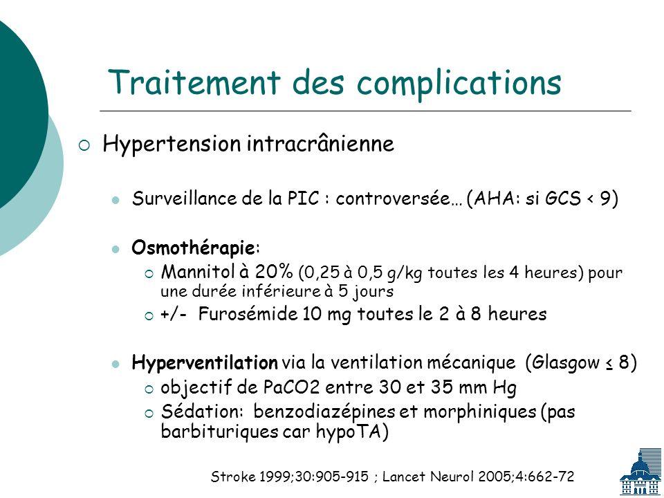 Traitement des complications Hypertension intracrânienne Surveillance de la PIC : controversée… (AHA: si GCS < 9) Osmothérapie: Mannitol à 20% (0,25 à 0,5 g/kg toutes les 4 heures) pour une durée inférieure à 5 jours +/- Furosémide 10 mg toutes le 2 à 8 heures Hyperventilation via la ventilation mécanique (Glasgow 8) objectif de PaCO2 entre 30 et 35 mm Hg Sédation: benzodiazépines et morphiniques (pas barbituriques car hypoTA) Stroke 1999;30:905-915 ; Lancet Neurol 2005;4:662-72