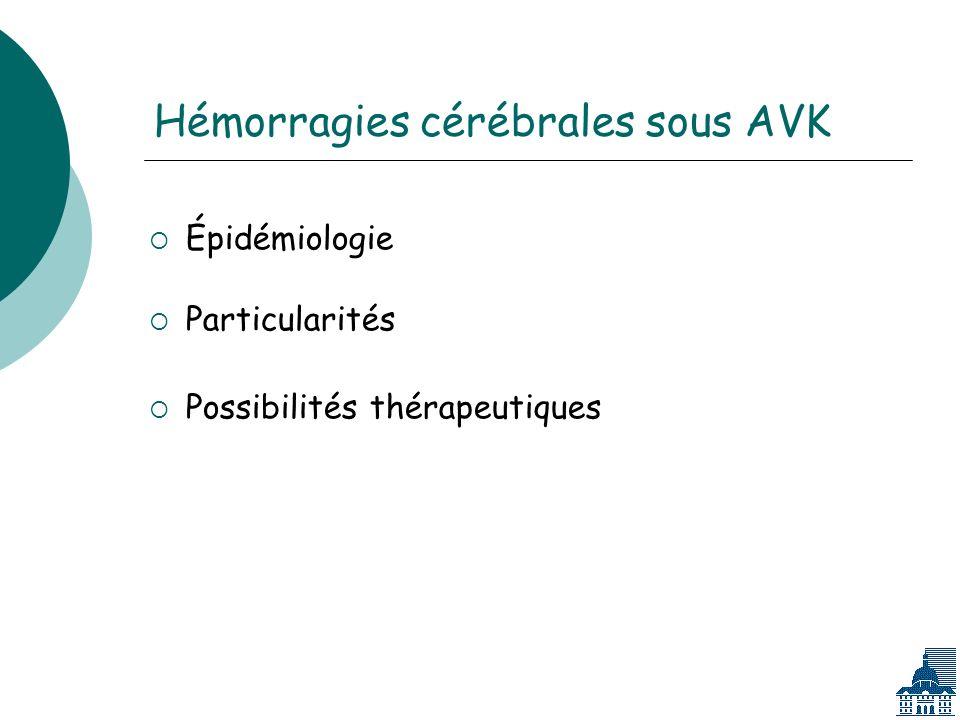 Hémorragies cérébrales sous AVK Épidémiologie Particularités Possibilités thérapeutiques