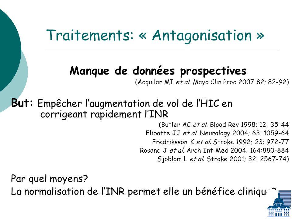 Traitements: « Antagonisation » Manque de données prospectives (Acquilar MI et al.