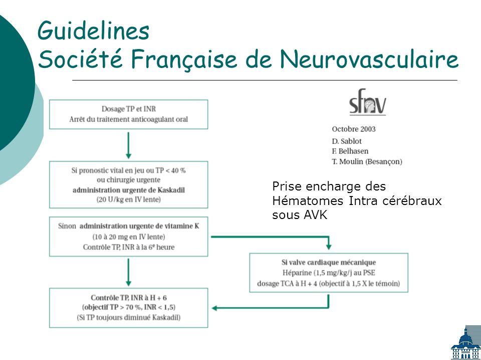 Guidelines Société Française de Neurovasculaire Prise encharge des Hématomes Intra cérébraux sous AVK