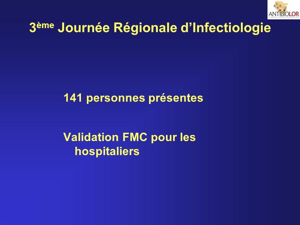 3 ème Journée Régionale dInfectiologie 141 personnes présentes Validation FMC pour les hospitaliers