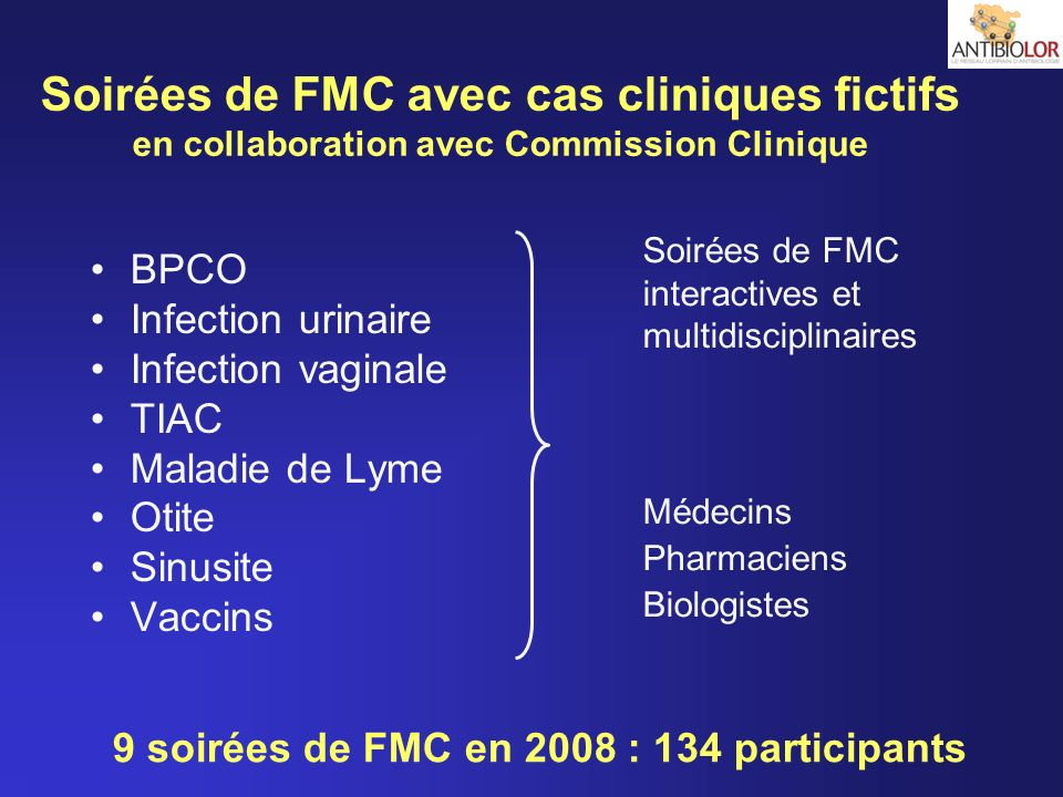 Soirées de FMC avec cas cliniques fictifs en collaboration avec Commission Clinique BPCO Infection urinaire Infection vaginale TIAC Maladie de Lyme Ot