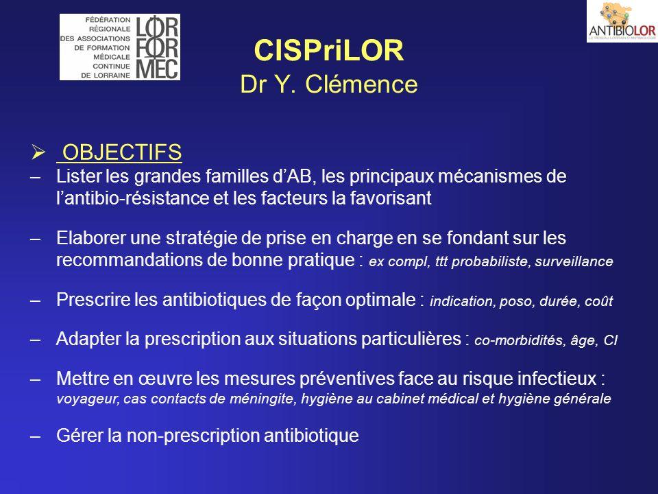 CISPriLOR Dr Y. Clémence OBJECTIFS –Lister les grandes familles dAB, les principaux mécanismes de lantibio-résistance et les facteurs la favorisant –E