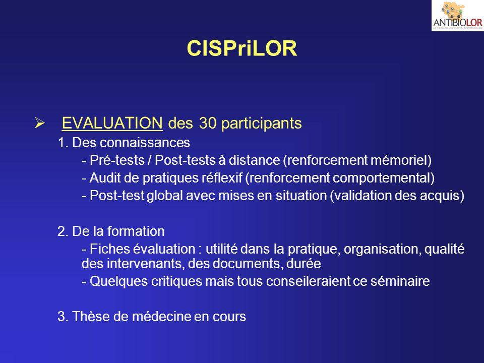 CISPriLOR EVALUATION des 30 participants 1. Des connaissances - Pré-tests / Post-tests à distance (renforcement mémoriel) - Audit de pratiques réflexi