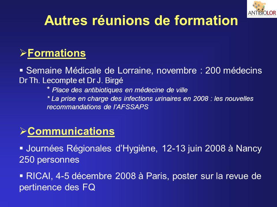 Autres réunions de formation Formations Semaine Médicale de Lorraine, novembre : 200 médecins Dr Th. Lecompte et Dr J. Birgé * Place des antibiotiques