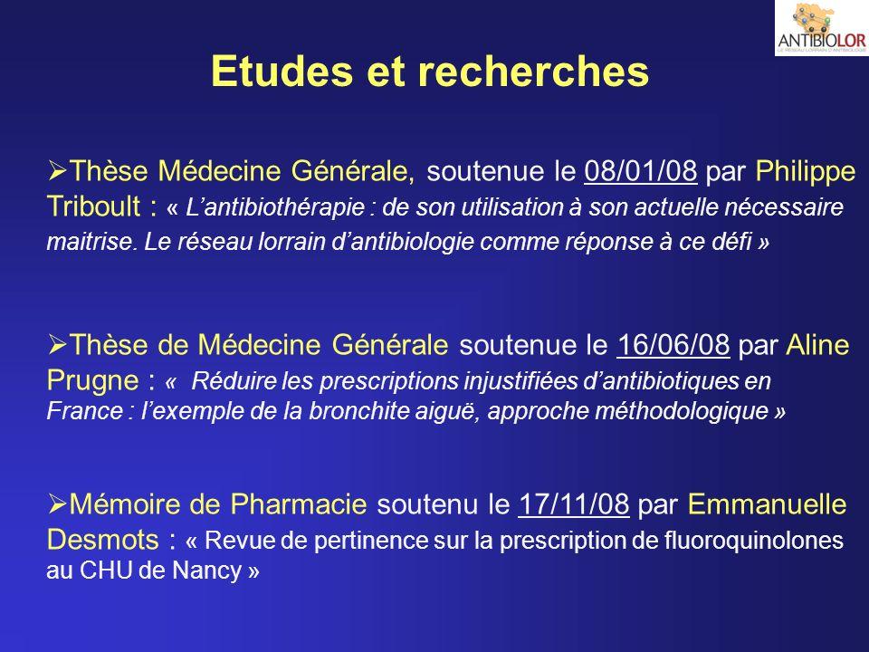 Etudes et recherches Thèse Médecine Générale, soutenue le 08/01/08 par Philippe Triboult : « Lantibiothérapie : de son utilisation à son actuelle néce