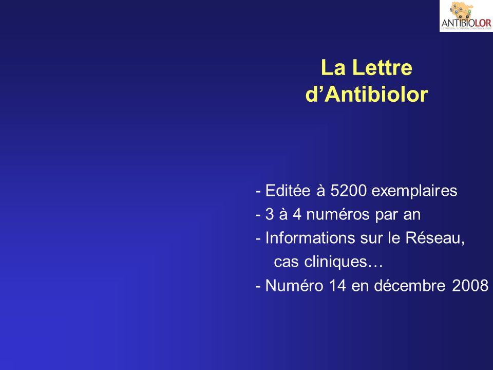 - Editée à 5200 exemplaires - 3 à 4 numéros par an - Informations sur le Réseau, cas cliniques… - Numéro 14 en décembre 2008 La Lettre dAntibiolor