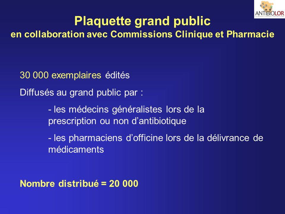 Plaquette grand public en collaboration avec Commissions Clinique et Pharmacie 30 000 exemplaires édités Diffusés au grand public par : - les médecins