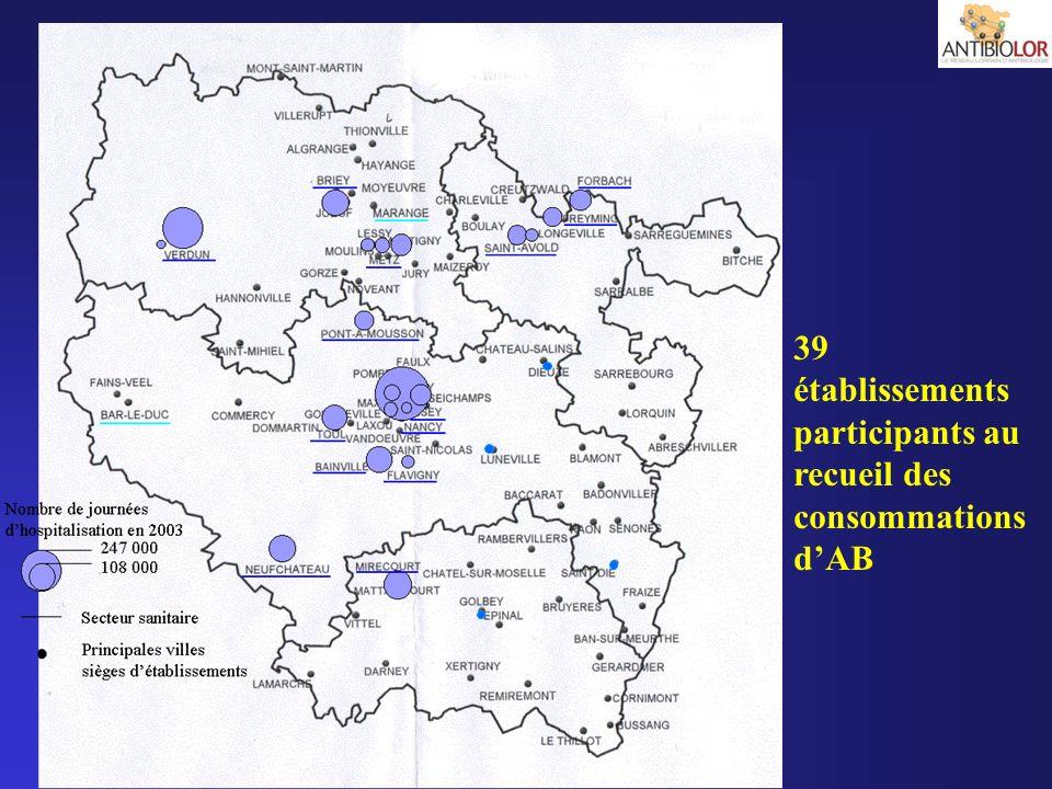 39 établissements participants au recueil des consommations dAB