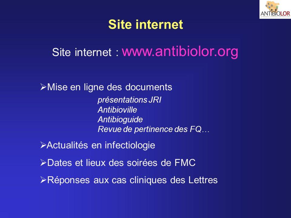 Site internet Mise en ligne des documents présentations JRI Antibioville Antibioguide Revue de pertinence des FQ… Actualités en infectiologie Dates et