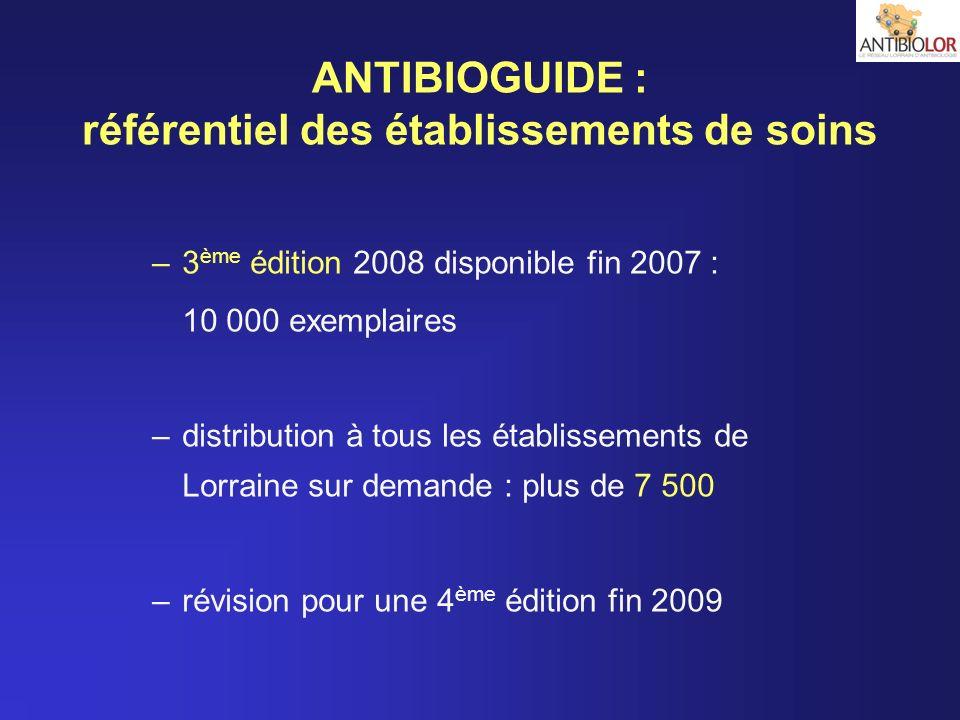 ANTIBIOGUIDE : référentiel des établissements de soins –3 ème édition 2008 disponible fin 2007 : 10 000 exemplaires –distribution à tous les établisse