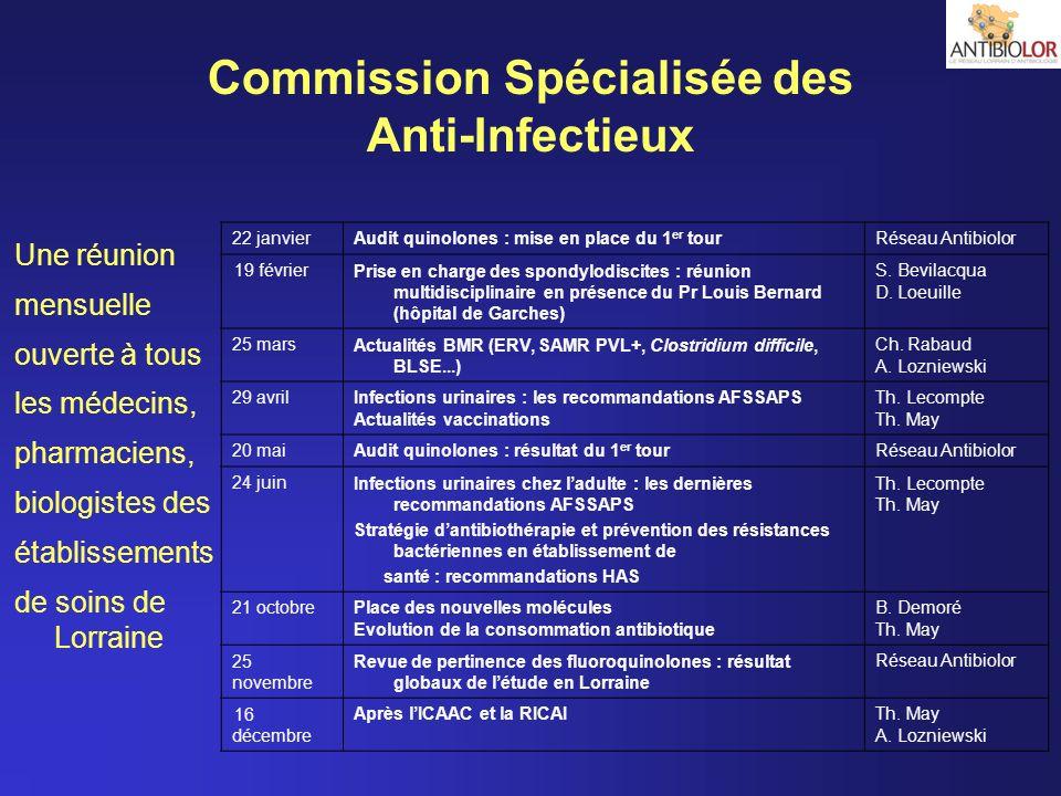 Commission Spécialisée des Anti-Infectieux Une réunion mensuelle ouverte à tous les médecins, pharmaciens, biologistes des établissements de soins de