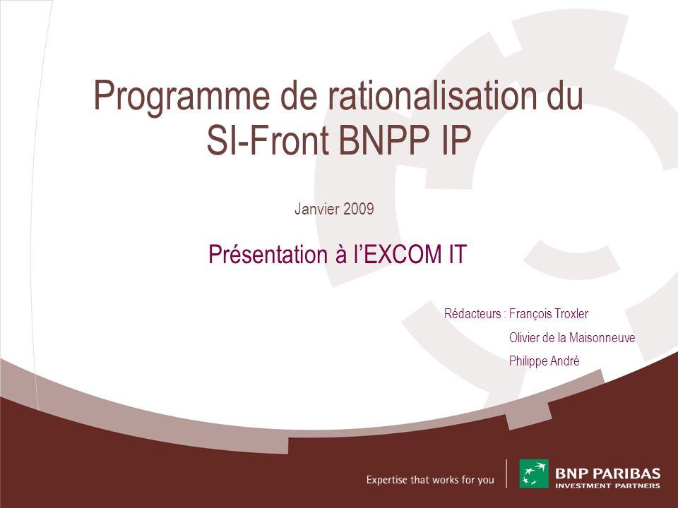 2 Projet Rationalisation BNPP IP Présentation EXCOM IT – Janvier 2009 – T1.4 Sommaire Etat des Lieux – Organisation des SI de BNPP IP / BPFS et FinAMS – Programme « Rationalisation » BNPP IP / BPFS / FinAMS Proposition dun programme SI-Front – Définition de la cible – Etude de cadrage – Portefeuille de projets – Architecture applicative – Architecture technique de principe – Définition de la trajectoire – Macro-Planning 2009 – Les questions en suspend
