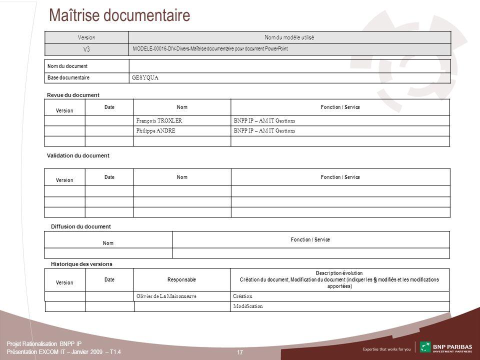 17 Projet Rationalisation BNPP IP Présentation EXCOM IT – Janvier 2009 – T1.4 Maîtrise documentaire Nom du document Base documentaire GESYQUA Revue du