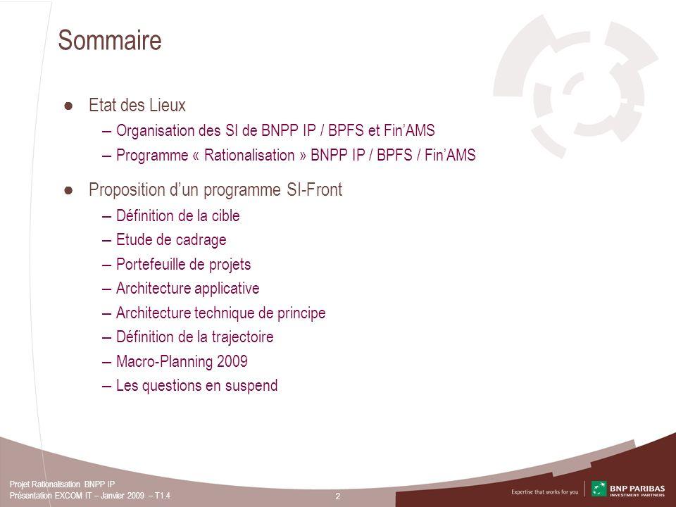 2 Projet Rationalisation BNPP IP Présentation EXCOM IT – Janvier 2009 – T1.4 Sommaire Etat des Lieux – Organisation des SI de BNPP IP / BPFS et FinAMS