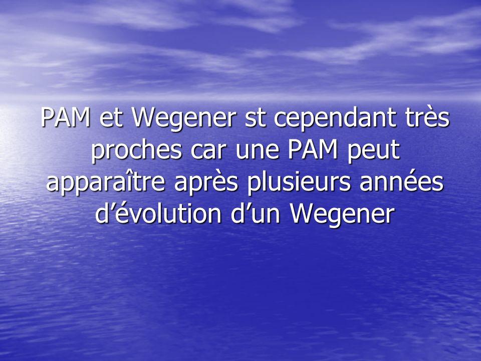 PAM et Wegener st cependant très proches car une PAM peut apparaître après plusieurs années dévolution dun Wegener