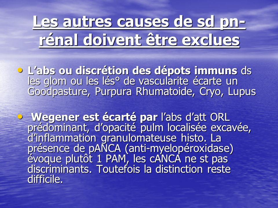 Les autres causes de sd pn- rénal doivent être exclues Labs ou discrétion des dépots immuns ds les glom ou les lés° de vascularite écarte un Goodpastu