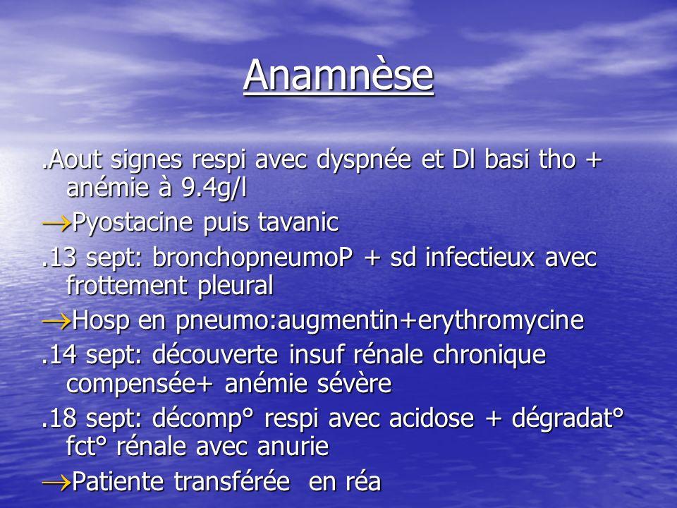 Anamnèse.Aout signes respi avec dyspnée et Dl basi tho + anémie à 9.4g/l Pyostacine puis tavanic Pyostacine puis tavanic.13 sept: bronchopneumoP + sd