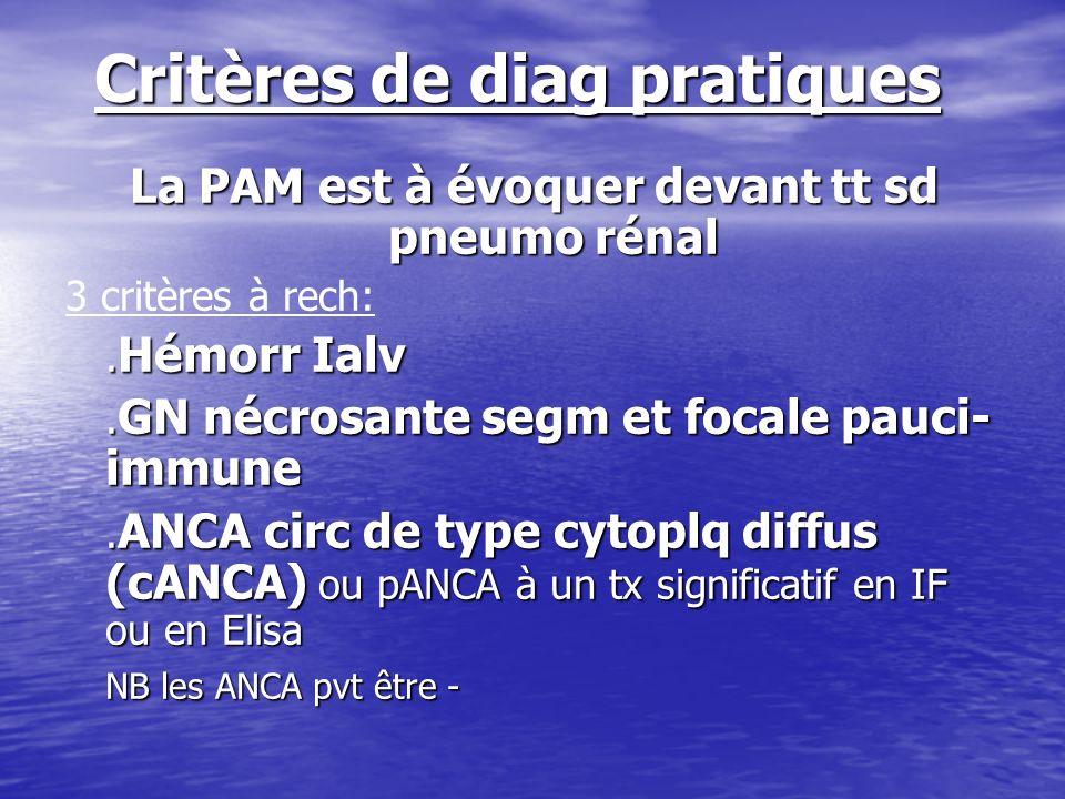 Critères de diag pratiques La PAM est à évoquer devant tt sd pneumo rénal 3 critères à rech:. Hémorr Ialv. GN nécrosante segm et focale pauci- immune.