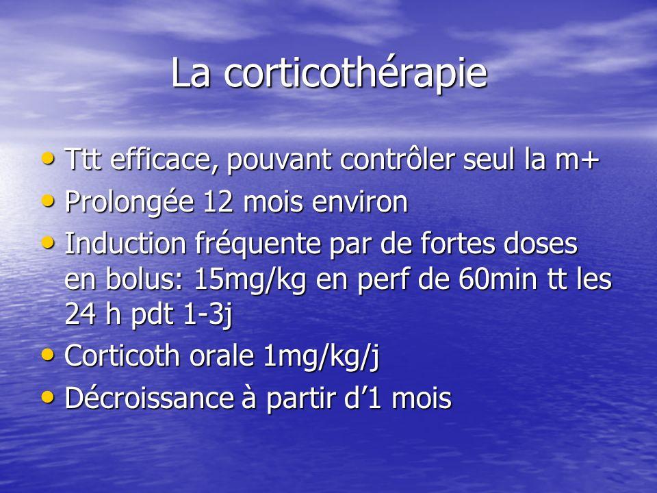 La corticothérapie Ttt efficace, pouvant contrôler seul la m+ Ttt efficace, pouvant contrôler seul la m+ Prolongée 12 mois environ Prolongée 12 mois e