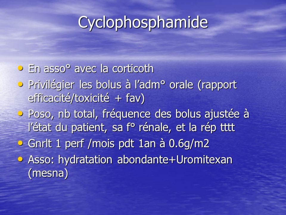 Cyclophosphamide En asso° avec la corticoth En asso° avec la corticoth Privilégier les bolus à ladm° orale (rapport efficacité/toxicité + fav) Privilé