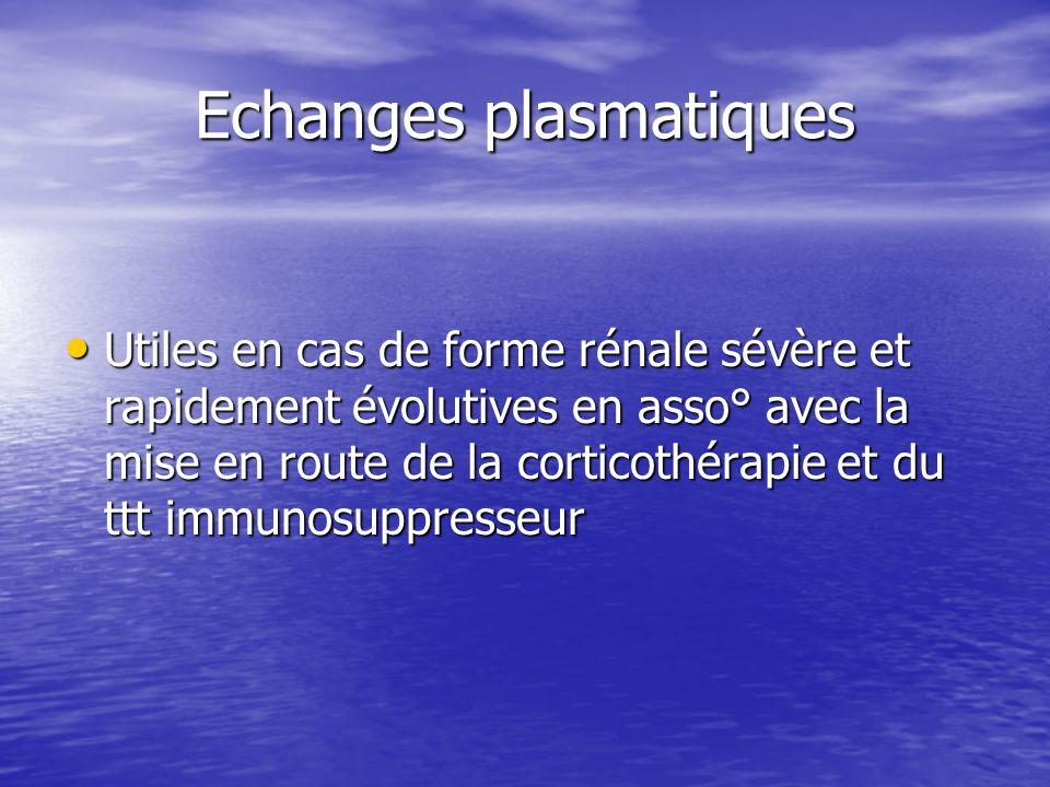 Echanges plasmatiques Utiles en cas de forme rénale sévère et rapidement évolutives en asso° avec la mise en route de la corticothérapie et du ttt imm
