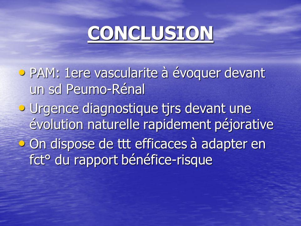 CONCLUSION PAM: 1ere vascularite à évoquer devant un sd Peumo-Rénal PAM: 1ere vascularite à évoquer devant un sd Peumo-Rénal Urgence diagnostique tjrs