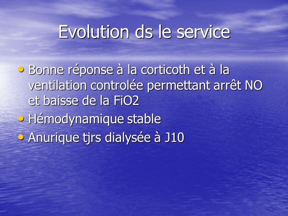 Evolution ds le service Bonne réponse à la corticoth et à la ventilation controlée permettant arrêt NO et baisse de la FiO2 Bonne réponse à la cortico