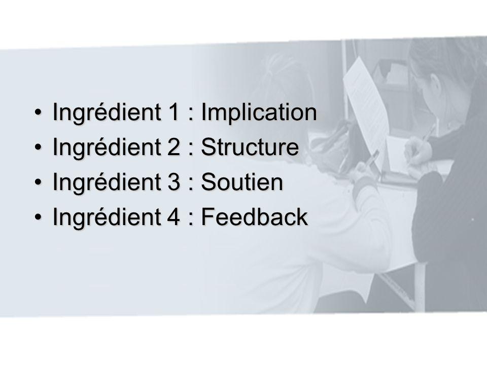 Ingrédient 1 : ImplicationIngrédient 1 : Implication Ingrédient 2 : StructureIngrédient 2 : Structure Ingrédient 3 : SoutienIngrédient 3 : Soutien Ing