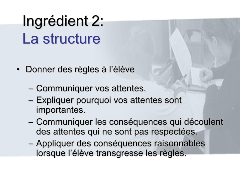 Ingrédient 2: La structure Donner des règles à lélèveDonner des règles à lélève –Communiquer vos attentes. –Expliquer pourquoi vos attentes sont impor