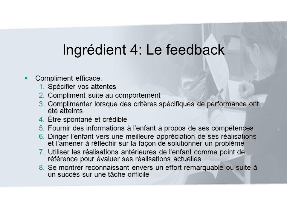 Ingrédient 4: Le feedback Compliment efficace: Compliment efficace: 1.Spécifier vos attentes 2.Compliment suite au comportement 3.Complimenter lorsque