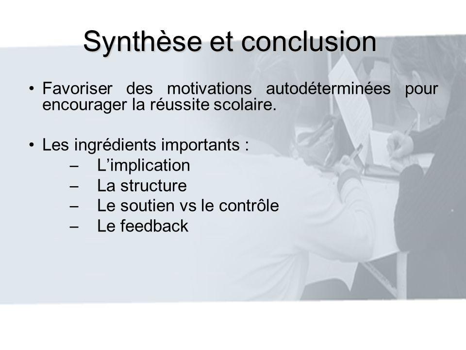 Synthèse et conclusion Favoriser des motivations autodéterminées pour encourager la réussite scolaire. Les ingrédients importants : –Limplication –La