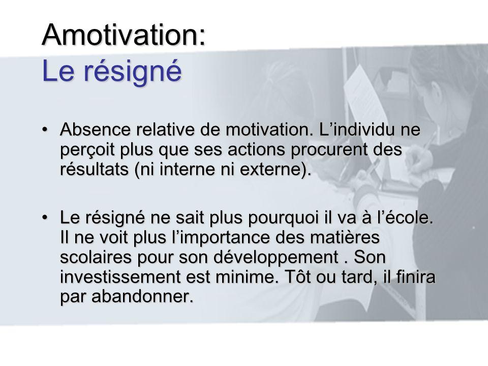 Amotivation: Le résigné Absence relative de motivation. Lindividu ne perçoit plus que ses actions procurent des résultats (ni interne ni externe).Abse