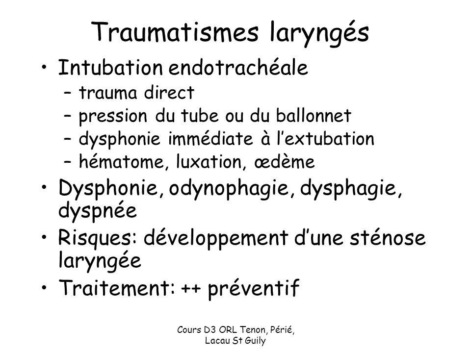 Cours D3 ORL Tenon, Périé, Lacau St Guily Traumatismes laryngés Intubation endotrachéale –trauma direct –pression du tube ou du ballonnet –dysphonie i