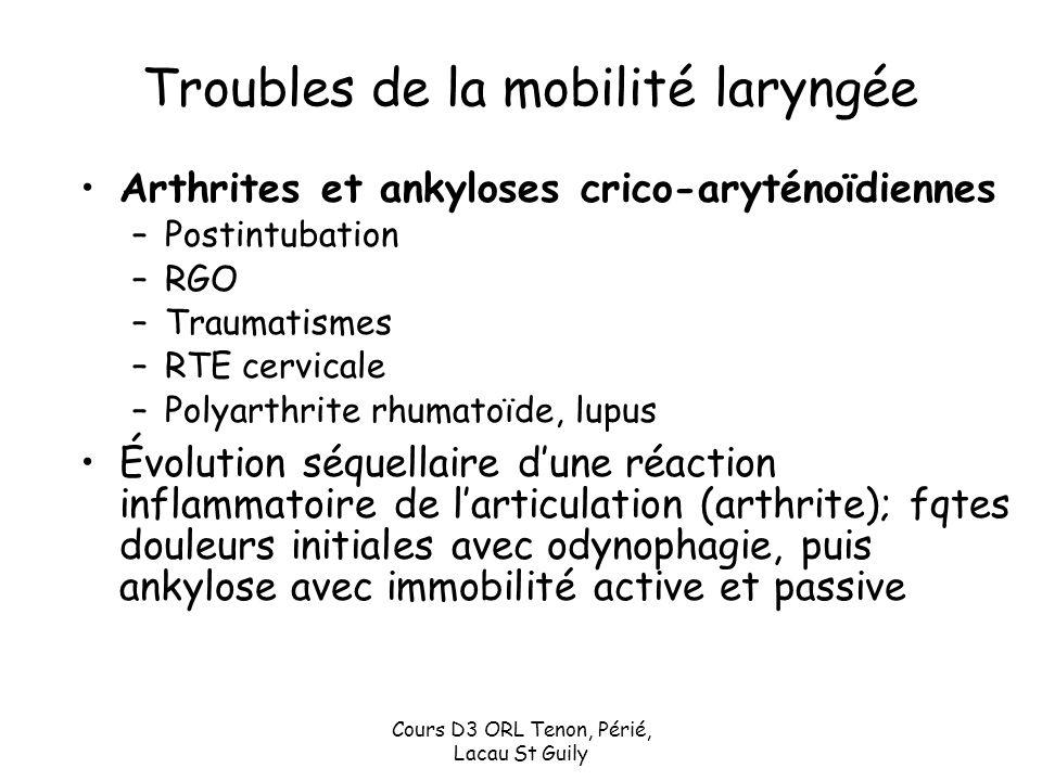 Cours D3 ORL Tenon, Périé, Lacau St Guily Troubles de la mobilité laryngée Arthrites et ankyloses crico-aryténoïdiennes –Postintubation –RGO –Traumati