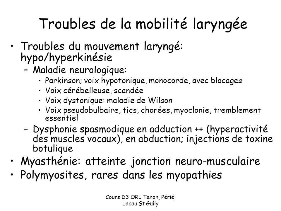 Cours D3 ORL Tenon, Périé, Lacau St Guily Troubles de la mobilité laryngée Troubles du mouvement laryngé: hypo/hyperkinésie –Maladie neurologique: Par