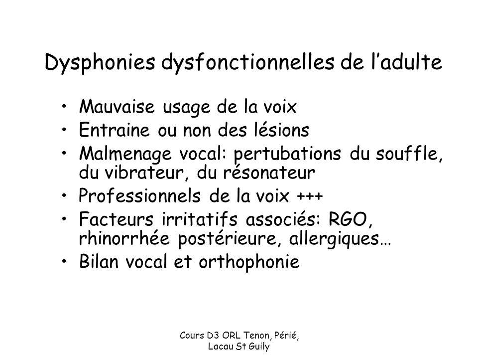 Cours D3 ORL Tenon, Périé, Lacau St Guily Dysphonies dysfonctionnelles de ladulte Mauvaise usage de la voix Entraine ou non des lésions Malmenage voca
