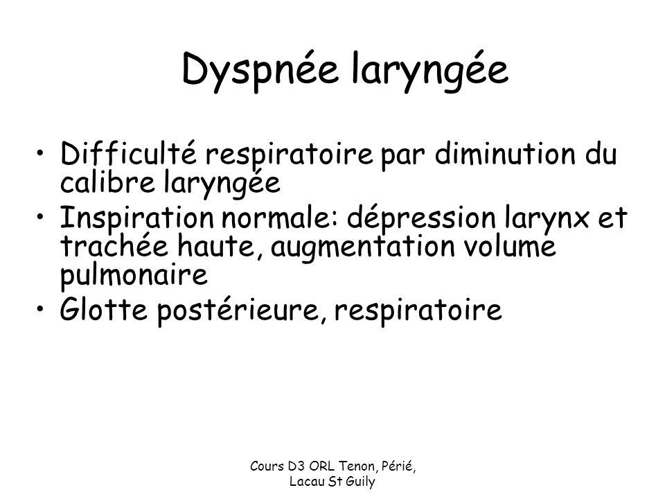 Cours D3 ORL Tenon, Périé, Lacau St Guily Dyspnée laryngée Difficulté respiratoire par diminution du calibre laryngée Inspiration normale: dépression