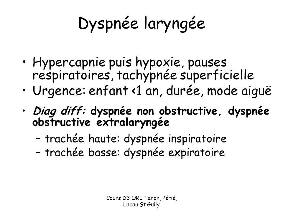 Cours D3 ORL Tenon, Périé, Lacau St Guily Dyspnée laryngée Hypercapnie puis hypoxie, pauses respiratoires, tachypnée superficielle Urgence: enfant <1
