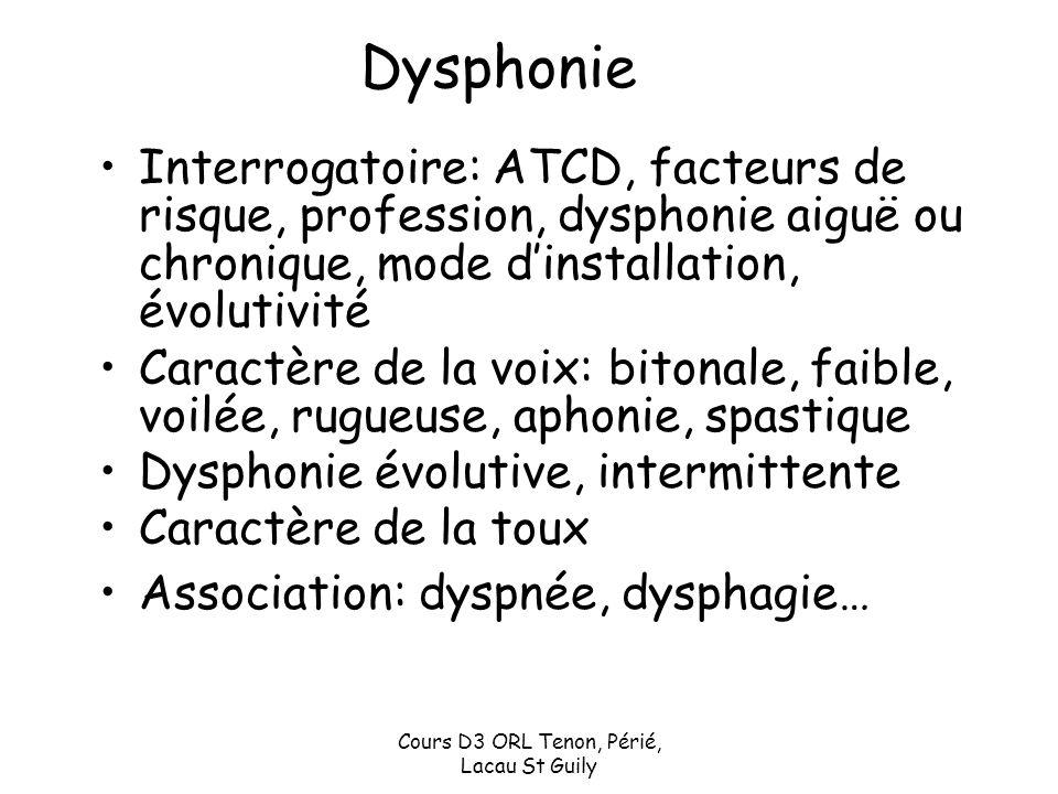Cours D3 ORL Tenon, Périé, Lacau St Guily Dysphonie Interrogatoire: ATCD, facteurs de risque, profession, dysphonie aiguë ou chronique, mode dinstalla