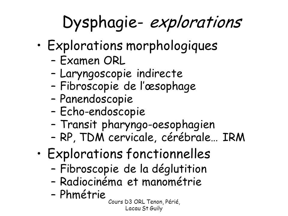 Cours D3 ORL Tenon, Périé, Lacau St Guily Dysphagie- explorations Explorations morphologiques –Examen ORL –Laryngoscopie indirecte –Fibroscopie de lœs