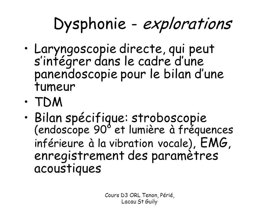 Cours D3 ORL Tenon, Périé, Lacau St Guily Dysphonie - explorations Laryngoscopie directe, qui peut sintégrer dans le cadre dune panendoscopie pour le