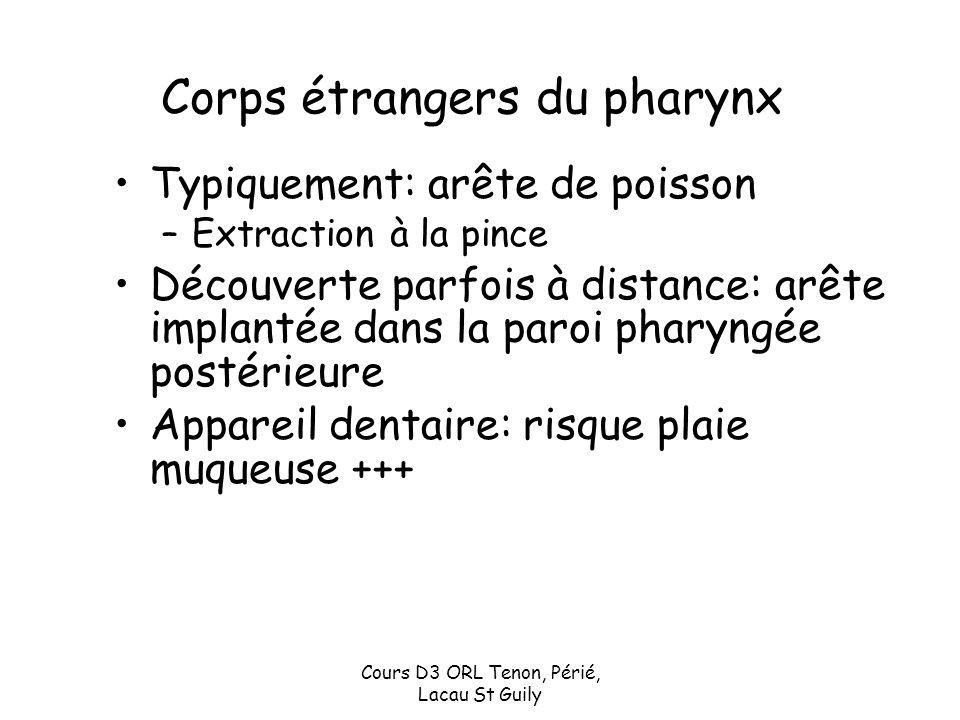Cours D3 ORL Tenon, Périé, Lacau St Guily Corps étrangers du pharynx Typiquement: arête de poisson –Extraction à la pince Découverte parfois à distanc