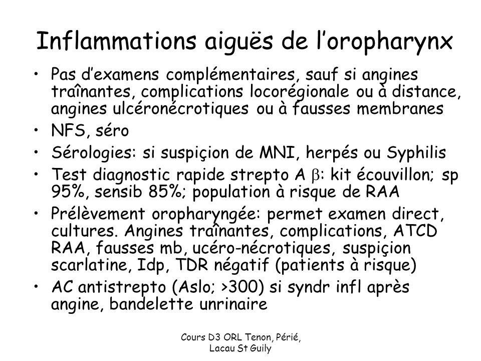 Cours D3 ORL Tenon, Périé, Lacau St Guily Inflammations aiguës de loropharynx Pas dexamens complémentaires, sauf si angines traînantes, complications