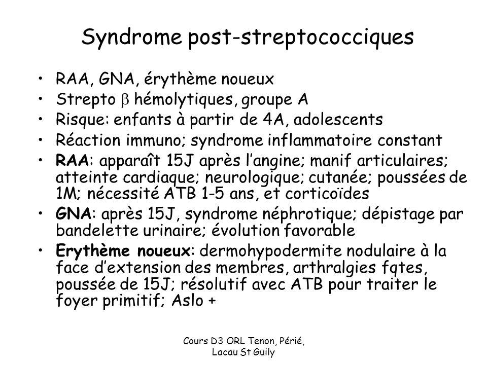 Cours D3 ORL Tenon, Périé, Lacau St Guily Syndrome post-streptococciques RAA, GNA, érythème noueux Strepto hémolytiques, groupe A Risque: enfants à pa