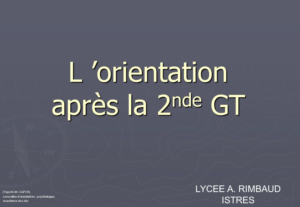 L orientation après la 2 nde GT Daprès M. CAPON, conseiller dorientation - psychologue Académie de Lille LYCEE A. RIMBAUD ISTRES